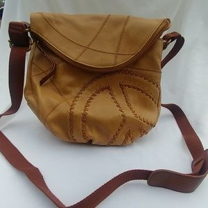 The Sak Leather Crossbody Hobo Bag Peace Sign